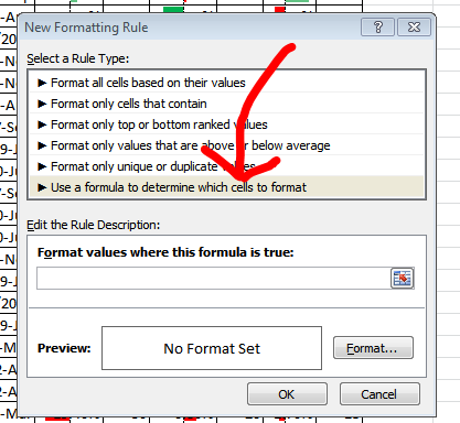 More complicated conditional formatting will often require formulas.