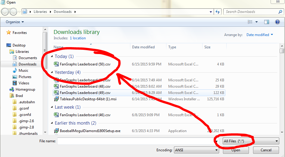 """Open Notepad, then open a file and set the file types too """"All Files."""""""