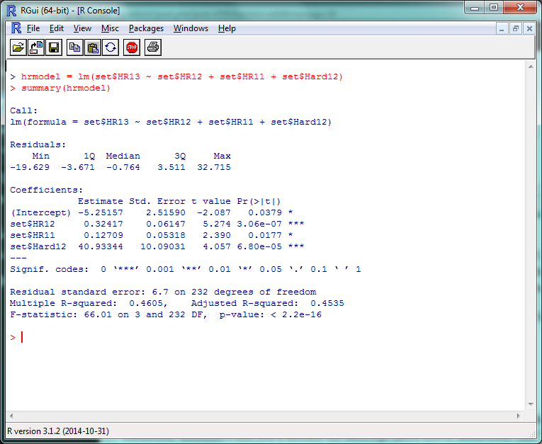 Screenshot of R model with significant factors