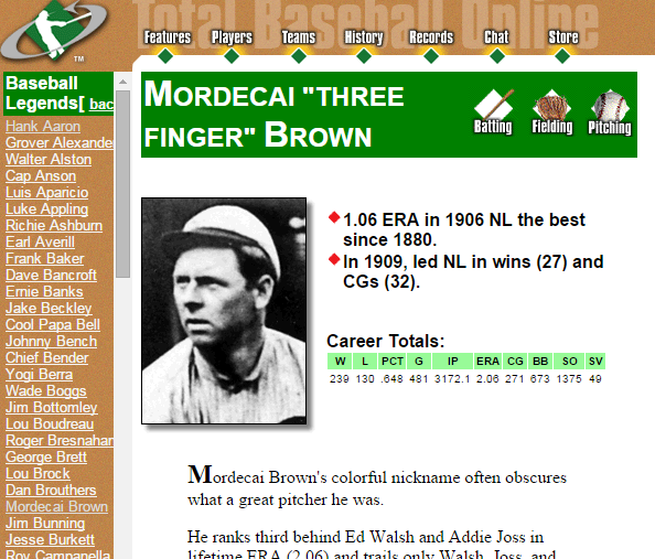 While TotalBaseball.com had a pretty nifty biography section for major players back in 2000, it lacked the meat of a more statistically rigorous site.