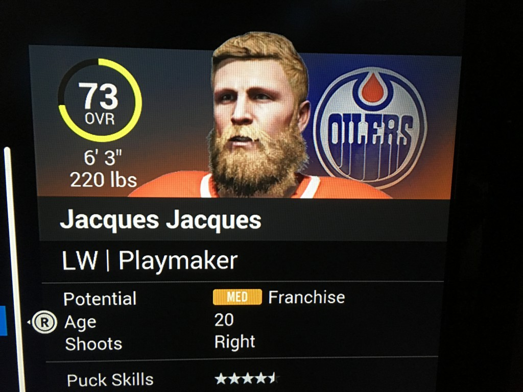 Jacques grows his playoff beard in November. That's how confident he is.